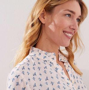 NWOT szMM Loft maternity ruffled neck blouse